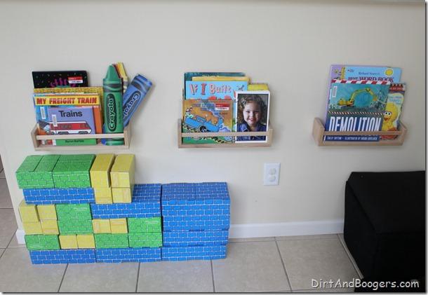 kid's bookshelves, playroom redo, kid's toys, organizing