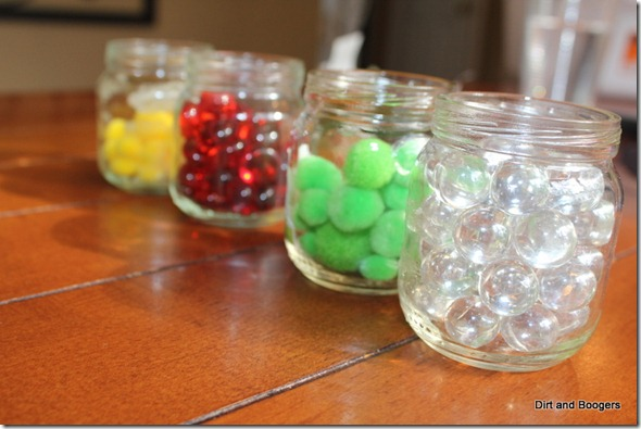 Colored Jars, fine motor play, toddler play