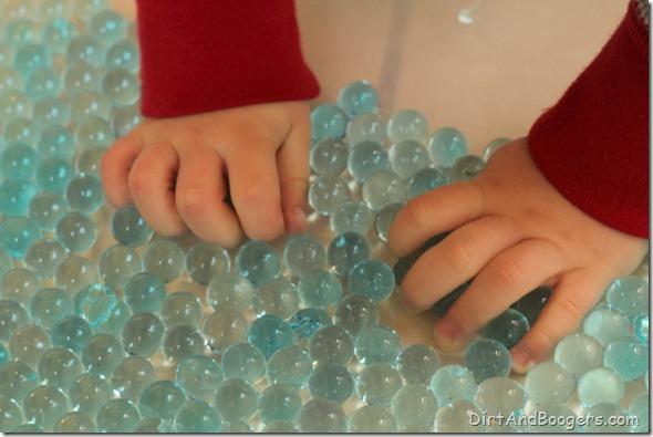 water beads, glass gems, sensory play