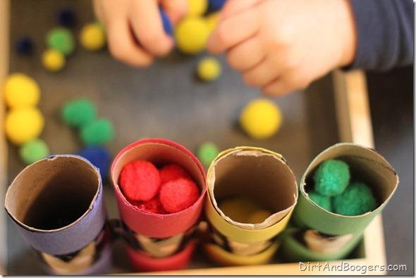 pom pom, preschool play, color sort