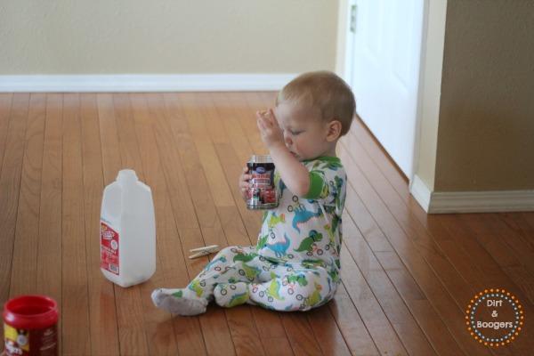 Young Toddler Activities - Clothes Pin Drop